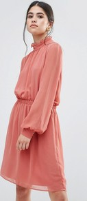 Dress With Frill Neck Dusky Pink - style: smock; fit: fitted at waist; pattern: plain; neckline: high neck; predominant colour: pink; occasions: casual; length: just above the knee; fibres: polyester/polyamide - 100%; sleeve length: long sleeve; sleeve style: standard; texture group: sheer fabrics/chiffon/organza etc.; pattern type: fabric; wardrobe: highlight; season: s/s 2017