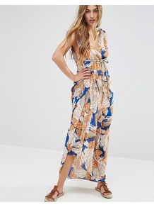 Maxi Dress In 70's Print Blue - neckline: low v-neck; sleeve style: sleeveless; style: maxi dress; length: ankle length; predominant colour: white; secondary colour: royal blue; occasions: casual; fit: body skimming; fibres: polyester/polyamide - 100%; sleeve length: sleeveless; texture group: sheer fabrics/chiffon/organza etc.; pattern type: fabric; pattern: patterned/print; multicoloured: multicoloured; wardrobe: highlight; season: s/s 2017