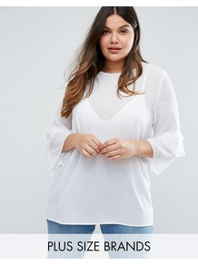 Fluted Sleeve Top White - sleeve style: bell sleeve; pattern: plain; predominant colour: white; occasions: casual; length: standard; style: top; fibres: polyester/polyamide - 100%; fit: straight cut; neckline: crew; sleeve length: 3/4 length; pattern type: fabric; texture group: jersey - stretchy/drapey; wardrobe: basic; season: s/s 2017