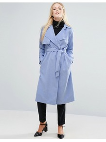 Trench Coat Blue - pattern: plain; style: trench coat; fit: slim fit; collar: standard lapel/rever collar; length: calf length; predominant colour: pale blue; occasions: casual; fibres: polyester/polyamide - 100%; waist detail: belted waist/tie at waist/drawstring; sleeve length: long sleeve; sleeve style: standard; collar break: medium; pattern type: fabric; texture group: woven light midweight; wardrobe: highlight; season: s/s 2017