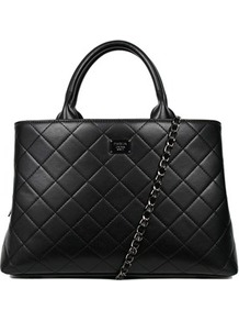 Quilted Grab Handbag - predominant colour: black; occasions: casual; type of pattern: standard; style: tote; length: handle; size: standard; material: faux leather; pattern: plain; finish: plain; wardrobe: investment; season: s/s 2017