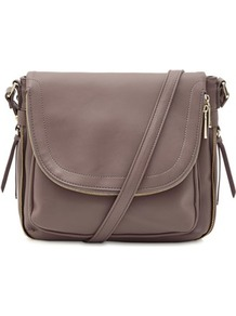 Pocket Detail Shoulder Bag - predominant colour: taupe; occasions: casual, creative work; type of pattern: standard; style: shoulder; length: shoulder (tucks under arm); size: standard; material: faux leather; pattern: plain; finish: plain; wardrobe: investment; season: s/s 2017