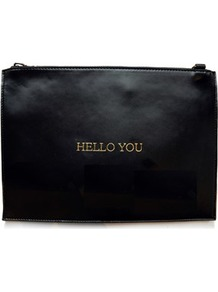 Hello You Clutch Bag - predominant colour: black; occasions: evening; type of pattern: standard; style: clutch; length: hand carry; size: small; material: faux leather; pattern: plain; finish: plain; wardrobe: event; season: s/s 2017
