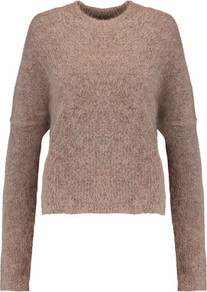 Mirakula Marled Knitted Sweater Mushroom - neckline: round neck; sleeve style: dolman/batwing; pattern: plain; style: standard; predominant colour: taupe; occasions: casual, creative work; length: standard; fibres: wool - mix; fit: standard fit; sleeve length: long sleeve; texture group: knits/crochet; pattern type: knitted - fine stitch; wardrobe: basic; season: s/s 2017