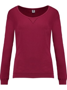 Cotton Jersey Top Plum - pattern: plain; predominant colour: burgundy; occasions: casual; length: standard; style: top; neckline: scoop; fibres: cotton - 100%; fit: body skimming; sleeve length: long sleeve; sleeve style: standard; pattern type: fabric; texture group: jersey - stretchy/drapey; wardrobe: highlight; season: s/s 2017