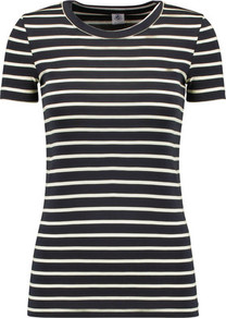 Striped Cotton Jersey T Shirt Navy - neckline: round neck; pattern: horizontal stripes; style: t-shirt; predominant colour: navy; occasions: casual; length: standard; fibres: cotton - 100%; fit: body skimming; sleeve length: short sleeve; sleeve style: standard; pattern type: fabric; texture group: jersey - stretchy/drapey; pattern size: big & busy (top); wardrobe: basic; season: s/s 2017