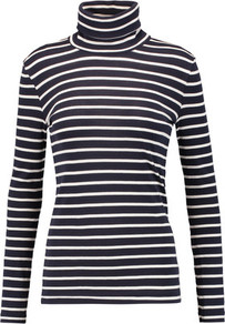 Striped Cotton Jersey Turtleneck Top Navy - pattern: horizontal stripes; neckline: roll neck; secondary colour: ivory/cream; predominant colour: navy; occasions: casual, creative work; length: standard; style: top; fibres: cotton - 100%; fit: body skimming; sleeve length: long sleeve; sleeve style: standard; pattern type: fabric; pattern size: standard; texture group: jersey - stretchy/drapey; wardrobe: basic; season: s/s 2017