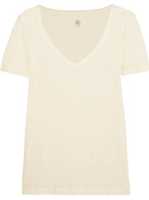 Linen Jersey T Shirt Cream - neckline: v-neck; pattern: plain; style: t-shirt; predominant colour: ivory/cream; occasions: casual; length: standard; fibres: linen - 100%; fit: body skimming; sleeve length: short sleeve; sleeve style: standard; pattern type: fabric; texture group: jersey - stretchy/drapey; wardrobe: basic; season: s/s 2017