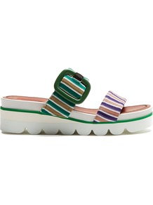 Striped Knit Slip On Wedge Sandals - predominant colour: dark green; occasions: casual, holiday; material: fabric; heel height: mid; heel: wedge; toe: open toe/peeptoe; style: strappy; finish: plain; pattern: horizontal stripes; shoe detail: platform with tread; multicoloured: multicoloured; wardrobe: highlight; season: s/s 2017
