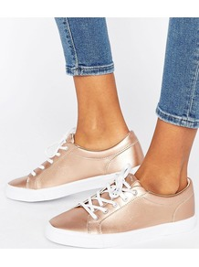 Metallic Trainer Rose Gold - predominant colour: gold; occasions: casual, activity; material: fabric; heel height: flat; toe: round toe; style: trainers; finish: metallic; pattern: plain; season: s/s 2017