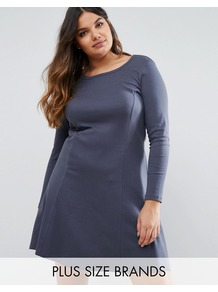 Long Sleeve Swing Dress Navy - style: trapeze; pattern: plain; predominant colour: navy; occasions: casual; length: just above the knee; fit: body skimming; neckline: scoop; fibres: cotton - 100%; sleeve length: long sleeve; sleeve style: standard; texture group: cotton feel fabrics; pattern type: fabric; wardrobe: basic; season: s/s 2017
