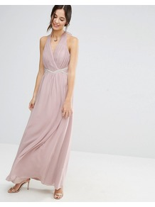 Halterneck Maxi Dress With Embellished Waist Dusky Pink - pattern: plain; sleeve style: sleeveless; style: maxi dress; length: ankle length; neckline: low halter neck; predominant colour: blush; occasions: evening; fit: body skimming; fibres: polyester/polyamide - 100%; sleeve length: sleeveless; texture group: sheer fabrics/chiffon/organza etc.; pattern type: fabric; wardrobe: event; season: s/s 2017