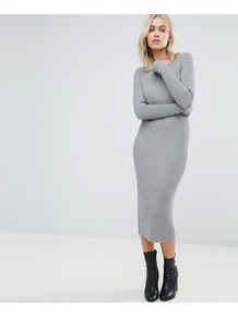 Bodycon Midi Dress Grey - length: calf length; fit: tight; pattern: plain; style: bodycon; predominant colour: light grey; occasions: casual; fibres: viscose/rayon - stretch; neckline: crew; sleeve length: long sleeve; sleeve style: standard; texture group: jersey - clingy; pattern type: fabric; wardrobe: basic; season: s/s 2017