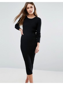 Bodycon Midi Dress Black - length: below the knee; fit: tight; pattern: plain; style: bodycon; predominant colour: black; occasions: evening; fibres: viscose/rayon - stretch; neckline: crew; sleeve length: long sleeve; sleeve style: standard; texture group: jersey - clingy; pattern type: fabric; wardrobe: event; season: s/s 2017