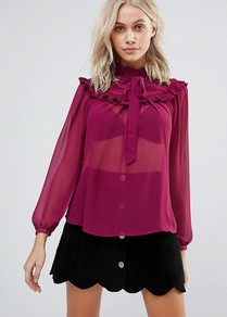 Blouse With Ruffle Bib Berry - pattern: plain; neckline: pussy bow; sleeve style: balloon; style: blouse; predominant colour: magenta; occasions: evening, creative work; length: standard; fibres: polyester/polyamide - 100%; fit: loose; sleeve length: long sleeve; texture group: sheer fabrics/chiffon/organza etc.; pattern type: fabric; wardrobe: highlight; season: s/s 2017; embellishment: frills; embellishment location: bust