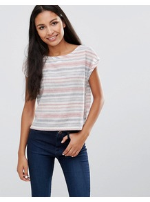 Birdy Stripe Tee Multi - neckline: round neck; sleeve style: capped; pattern: horizontal stripes; style: t-shirt; predominant colour: white; occasions: casual, creative work; length: standard; fibres: cotton - mix; fit: straight cut; sleeve length: short sleeve; pattern type: fabric; texture group: jersey - stretchy/drapey; pattern size: big & busy (top); multicoloured: multicoloured; wardrobe: basic; season: s/s 2017
