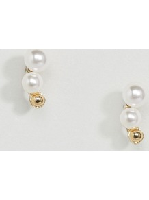 Filune Faux Pearl Earrings Gold/White - predominant colour: gold; occasions: evening, occasion; style: stud; length: short; size: small/fine; material: chain/metal; fastening: pierced; finish: plain; embellishment: pearls; wardrobe: event; season: s/s 2017