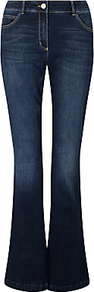 Slim Leg Jeans, Indigo - style: flares; length: standard; pattern: plain; pocket detail: traditional 5 pocket; waist: mid/regular rise; predominant colour: navy; occasions: casual; fibres: cotton - stretch; jeans detail: whiskering, shading down centre of thigh; texture group: denim; pattern type: fabric; wardrobe: basic; season: s/s 2017