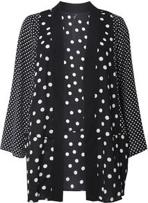Black And Ivory Spotted Kimono Top - sleeve style: dolman/batwing; collar: round collar/collarless; fit: loose; length: below the bottom; pattern: polka dot; secondary colour: white; predominant colour: black; occasions: casual, creative work; fibres: polyester/polyamide - 100%; sleeve length: long sleeve; texture group: sheer fabrics/chiffon/organza etc.; collar break: low/open; pattern type: fabric; pattern size: standard; style: fluid/kimono; wardrobe: highlight; season: s/s 2017