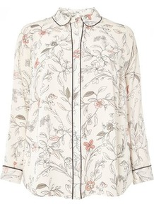 Ivory Floral Print Pyjama Style Shirt - neckline: shirt collar/peter pan/zip with opening; style: shirt; predominant colour: ivory/cream; secondary colour: nude; occasions: casual, creative work; length: standard; fibres: polyester/polyamide - 100%; fit: loose; sleeve length: long sleeve; sleeve style: standard; texture group: crepes; pattern type: fabric; pattern size: standard; pattern: florals; wardrobe: highlight; season: s/s 2017; embellishment: contrast fabric; embellishment location: trim