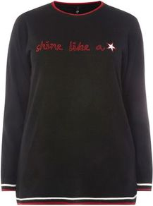Black Shine Star Jumper - style: standard; secondary colour: true red; predominant colour: black; occasions: casual; length: standard; fibres: acrylic - 100%; fit: standard fit; neckline: crew; sleeve length: long sleeve; sleeve style: standard; texture group: knits/crochet; pattern type: knitted - other; pattern size: standard; pattern: graphic/slogan; wardrobe: highlight; season: s/s 2017