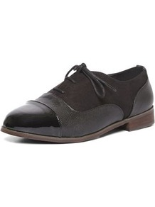 Black Lace Up Brogue Shoes - predominant colour: black; occasions: casual, creative work; material: faux leather; heel height: flat; toe: round toe; style: brogues; finish: plain; pattern: plain; wardrobe: basic; season: s/s 2017
