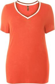 Red Stripe T Shirt - neckline: v-neck; style: t-shirt; secondary colour: ivory/cream; predominant colour: bright orange; occasions: casual; length: standard; fibres: viscose/rayon - 100%; fit: body skimming; sleeve length: short sleeve; sleeve style: standard; texture group: jersey - clingy; pattern type: fabric; pattern size: standard; pattern: colourblock; wardrobe: highlight; season: s/s 2017