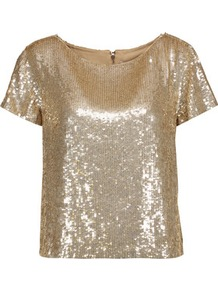 Sarita Sequined Tulle Top Gold - neckline: round neck; pattern: plain; predominant colour: gold; occasions: evening; length: standard; style: top; fibres: polyester/polyamide - 100%; fit: straight cut; sleeve length: short sleeve; sleeve style: standard; pattern type: fabric; texture group: jersey - stretchy/drapey; embellishment: sequins; wardrobe: event; season: s/s 2017; embellishment location: all over