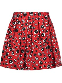 Fizer Pleated Printed Cotton Blend Mini Skirt Red - length: mid thigh; style: full/prom skirt; fit: loose/voluminous; waist: mid/regular rise; predominant colour: true red; secondary colour: black; occasions: casual; fibres: cotton - mix; hip detail: subtle/flattering hip detail; texture group: cotton feel fabrics; pattern type: fabric; pattern: patterned/print; multicoloured: multicoloured; wardrobe: highlight; season: s/s 2017