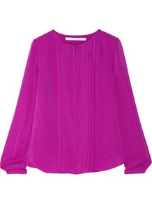Meadow Pleated Silk Blouse Fuchsia - pattern: plain; style: blouse; predominant colour: magenta; occasions: evening; length: standard; fibres: silk - 100%; fit: straight cut; neckline: crew; sleeve length: long sleeve; sleeve style: standard; texture group: structured shiny - satin/tafetta/silk etc.; pattern type: fabric; wardrobe: event; season: s/s 2017