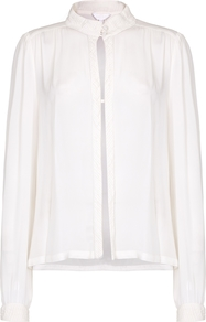 Cruz Blouse Winter White - neckline: shirt collar/peter pan/zip with opening; pattern: plain; style: blouse; predominant colour: white; occasions: work, creative work; length: standard; fibres: polyester/polyamide - mix; fit: loose; sleeve length: long sleeve; sleeve style: standard; pattern type: fabric; texture group: other - light to midweight; wardrobe: basic; season: s/s 2017