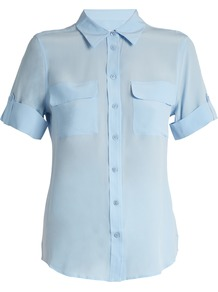 Signature Short Sleeved Silk Shirt - neckline: shirt collar/peter pan/zip with opening; pattern: plain; style: shirt; bust detail: subtle bust detail; predominant colour: pale blue; occasions: casual, work, creative work; length: standard; fibres: silk - 100%; fit: body skimming; sleeve length: short sleeve; sleeve style: standard; texture group: silky - light; pattern type: fabric; wardrobe: highlight; season: s/s 2017