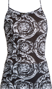 Baroque Print Performance Top - sleeve style: spaghetti straps; secondary colour: white; predominant colour: black; length: standard; style: top; neckline: scoop; fibres: polyester/polyamide - stretch; fit: tight; sleeve length: sleeveless; texture group: jersey - clingy; pattern type: fabric; pattern: patterned/print; occasions: activity; pattern size: big & busy (top); season: s/s 2017