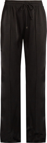 Satin Knit Track Pants - length: standard; pattern: plain; style: tracksuit pants; waist: high rise; waist detail: belted waist/tie at waist/drawstring; predominant colour: black; occasions: casual, activity; texture group: structured shiny - satin/tafetta/silk etc.; fit: straight leg; pattern type: fabric; fibres: viscose/rayon - mix; season: s/s 2017