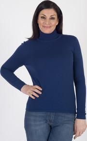 Gerry Weber Cobalt Blue Fine Knit Roll Neck Jumper - pattern: plain; neckline: roll neck; style: standard; predominant colour: navy; occasions: casual; length: standard; fibres: polyester/polyamide - mix; fit: standard fit; sleeve length: long sleeve; sleeve style: standard; texture group: knits/crochet; pattern type: knitted - fine stitch; wardrobe: basic; season: s/s 2017