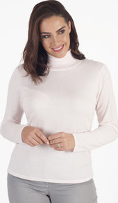 Gerry Weber Powder Pink Fine Knit Roll Neck Jumper - pattern: plain; neckline: roll neck; style: standard; predominant colour: white; occasions: casual; length: standard; fibres: polyester/polyamide - mix; fit: standard fit; sleeve length: long sleeve; sleeve style: standard; texture group: knits/crochet; pattern type: knitted - fine stitch; wardrobe: basic; season: s/s 2017