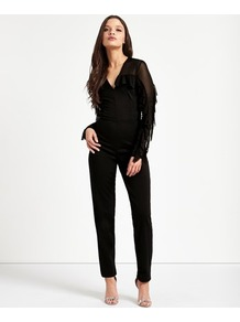 Mesh Jumpsuit - length: standard; neckline: low v-neck; fit: tailored/fitted; pattern: plain; predominant colour: black; occasions: evening; fibres: polyester/polyamide - stretch; sleeve length: long sleeve; sleeve style: standard; style: jumpsuit; pattern type: fabric; texture group: other - light to midweight; embellishment: fringing; wardrobe: event; season: s/s 2017; embellishment location: sleeve/cuff
