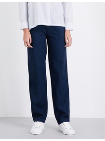Rinsed Relaxed Fit Denim Trousers, Women's, Rinse Wash - length: standard; pattern: plain; waist: mid/regular rise; predominant colour: navy; occasions: casual, creative work; fibres: cotton - 100%; texture group: denim; fit: wide leg; pattern type: fabric; style: standard; wardrobe: basic; season: s/s 2017