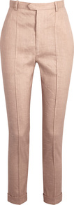 Nadi Pink High Waisted Linen Blend Trousers - length: standard; pattern: plain; waist: high rise; predominant colour: blush; texture group: linen; fit: slim leg; pattern type: fabric; style: standard; fibres: linen - stretch; occasions: creative work; wardrobe: basic; season: s/s 2017