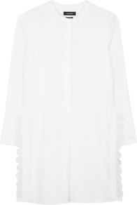Minea White Crochet Trimmed Poplin Shirt - pattern: plain; length: below the bottom; style: shirt; predominant colour: white; occasions: casual, creative work; neckline: collarstand; fibres: cotton - 100%; fit: loose; sleeve length: long sleeve; sleeve style: standard; texture group: cotton feel fabrics; pattern type: fabric; embellishment: lace; wardrobe: highlight; season: s/s 2017; embellishment location: hip