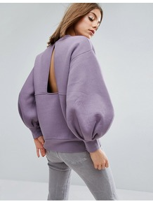 Balloon Sleeve Sweater Lilac - pattern: plain; neckline: high neck; sleeve style: balloon; style: standard; predominant colour: lilac; occasions: casual; length: standard; fibres: cotton - mix; fit: loose; sleeve length: long sleeve; pattern type: fabric; texture group: jersey - stretchy/drapey; wardrobe: highlight; season: s/s 2017