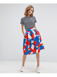 Geo Print A Line Skirt Red/Blue - length: below the knee; style: full/prom skirt; fit: loose/voluminous; waist: high rise; predominant colour: diva blue; occasions: casual, creative work; fibres: polyester/polyamide - 100%; hip detail: subtle/flattering hip detail; pattern type: fabric; pattern: patterned/print; texture group: woven light midweight; pattern size: big & busy (bottom); multicoloured: multicoloured; wardrobe: highlight; season: s/s 2017