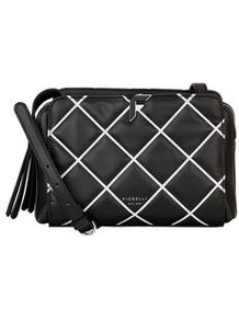 Sadie Quilted Crossbody Bag - secondary colour: white; predominant colour: black; occasions: casual, creative work; type of pattern: standard; style: shoulder; length: across body/long; size: standard; material: leather; embellishment: quilted; pattern: checked/gingham; finish: plain; wardrobe: highlight; season: s/s 2017