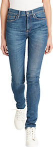 High Rise Skinny Jeans, Medium Indigo - style: skinny leg; length: standard; pattern: plain; waist: high rise; pocket detail: traditional 5 pocket; predominant colour: denim; occasions: casual, creative work; fibres: cotton - stretch; jeans detail: whiskering, shading down centre of thigh; texture group: denim; pattern type: fabric; wardrobe: basic; season: s/s 2017