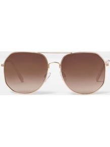 Womens Rose Gold Angular Aviator Sunglasses - predominant colour: gold; occasions: casual, holiday; style: aviator; size: large; material: chain/metal; pattern: plain; finish: metallic; wardrobe: basic; season: s/s 2017