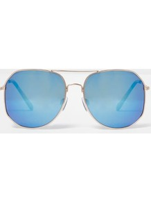 Womens Gold Blue Tone Angular Aviator Sunglasses - secondary colour: pale blue; predominant colour: silver; style: aviator; size: standard; material: chain/metal; pattern: plain; occasions: holiday; finish: metallic; multicoloured: multicoloured; wardrobe: basic; season: s/s 2017