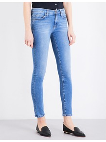 Cropped Skinny High Rise Jeans, Women's, Portsmith - style: skinny leg; length: standard; pattern: plain; pocket detail: traditional 5 pocket; waist: mid/regular rise; predominant colour: denim; occasions: casual; fibres: cotton - stretch; texture group: denim; pattern type: fabric; wardrobe: basic; season: s/s 2017