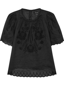 Araza Black Embroidered Voile Top - predominant colour: black; occasions: casual; length: standard; style: top; fibres: cotton - 100%; fit: loose; neckline: crew; sleeve length: short sleeve; sleeve style: standard; pattern type: fabric; pattern size: standard; pattern: patterned/print; texture group: woven light midweight; embellishment: embroidered; wardrobe: highlight; season: s/s 2017; embellishment location: bust