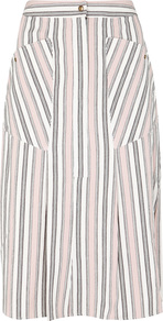 Sphery Striped Cotton Skirt - pattern: striped; style: pencil; fit: tailored/fitted; waist: high rise; secondary colour: white; predominant colour: blush; occasions: casual; length: on the knee; fibres: cotton - 100%; texture group: cotton feel fabrics; pattern type: fabric; multicoloured: multicoloured; wardrobe: highlight; season: s/s 2017; embellishment: flat pockets; embellishment location: hip