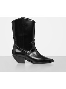Evi Boot - predominant colour: black; occasions: casual, creative work; material: leather; heel height: mid; heel: block; toe: pointed toe; boot length: mid calf; style: cowboy; finish: patent; pattern: plain; wardrobe: basic; season: s/s 2017